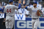 Ben Zobrist #18 of the Chicago Cubs high-fives Anthony Rizzo #44 after defeating the San Diego Padres 7-4 at PETCO Park on July 15, 2018 in San Diego, California.