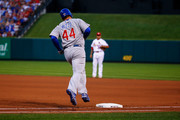 Anthony Rizzo #44 of the Chicago Cubs rounds first base after hitting a home run against the St. Louis Cardinals in the third inning at Busch Stadium on July 27, 2018 in St. Louis, Missouri.