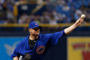 Pitcher Jon Lester #34 of the Chicago Cubs pitches during the first inning of a game against the Tampa Bay Rays on September 20, 2017 at Tropicana Field in St. Petersburg, Florida.