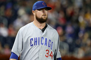 Jon Lester #34 of the Chicago Cubs walks to the dugout before the start of the Cubs and Washington Nationals game at Nationals Park on September 7, 2018 in Washington, DC.