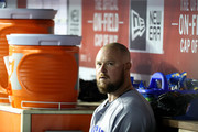 Starting pitcher Jon Lester #34 of the Chicago Cubs sits in the dugout before the start of the Cubs and Washington Nationals game at Nationals Park on September 7, 2018 in Washington, DC.