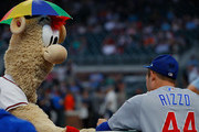 Atlanta Braves mascot Blooper plays a game with Anthony Rizzo #44 of the Chicago Cubs prior to the rain delay at SunTrust Park on May 17, 2018 in Atlanta, Georgia.