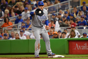 Anthony Rizzo #44 of the Chicago Cubs makes the out in the sixth inning during the game against the Miami Marlins  at Marlins Park on March 31, 2018 in Miami, Florida.