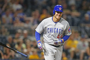 Anthony Rizzo #44 of the Chicago Cubs laughs after walking in the eighth inning against the Pittsburgh Pirates at PNC Park on May 29, 2018 in Pittsburgh, Pennsylvania.