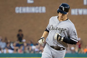 Justin Morneau #44 of the Chicago White Sox hits a slow home run to tie the game in the seventh inning during a MLB game against the Detroit Tigers at Comerica Park on August 3, 2016 in Detroit, Michigan.