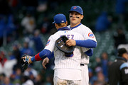 Javier Baez #9 and Anthony Rizzo #44 of the Chicago Cubs celebrate after beating the Chicago White Sox 8-4 at Wrigley Field on May 12, 2018 in Chicago, Illinois.