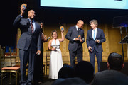(L-R) Bernie Williams, Allyson Felix, Katelyn Ohashi, John Starks and Dennis Walto pose with their awards on stage during the Children's Health Fund Annual Benefit 2019 on June 05, 2019 in New York City.