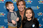 Elliot, Chris Pine, and Kairi attend the Children's Hospital Los Angeles fourth annual Make March Matter fundraising campaign kick-off event at Children's Hospital Los Angeles on March 04, 2019 in Los Angeles, California.