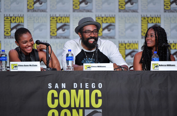 2019 Comic-Con International - 'Black Lightning' Special Video Presentation And Q&A [comics,event,fiction,news conference,costume,world,publication,nafessa williams,cress williams,china anne mcclain,q a,l-r,san diego convention center,california,special video presentation,comic-con international]