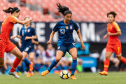 Christen Press #23 of the United States looks for a pass during the first half against China at FirstEnergy Stadium on June 12, 2018 in Cleveland, Ohio.