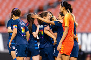 Tobin Heath #17 of the United States (center) celebrates with teammates after scoring during the second half against China at FirstEnergy Stadium on June 12, 2018 in Cleveland, Ohio. USA defeated China 2-1.