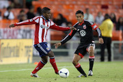 Miller Bolanos #17 of Chivas USA controls the ball against Andy Najar #14 of D.C. United at RFK Stadium on September 23, 2012 in Washington, DC.