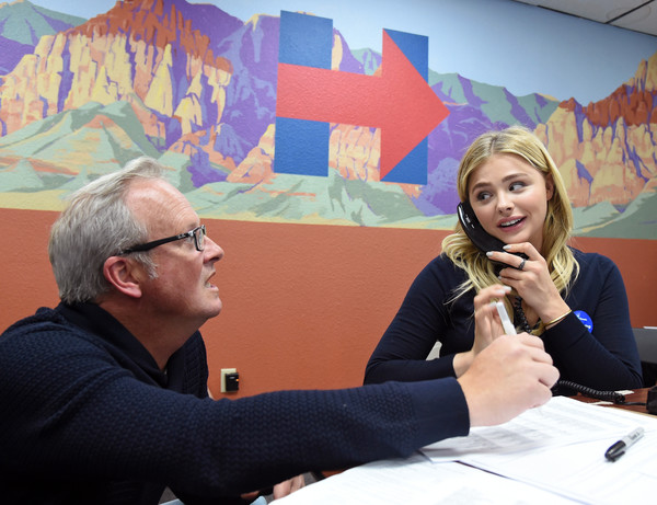 Chloe Grace Moretz Campaigns For Hillary Clinton in Las Vegas [conversation,community,event,interaction,design,art,adaptation,room,visual arts,illustration,hillary clinton,chloe grace moretz,bernie sanders,volunteer kavin burkhalter,phone calls,nevada,las vegas,campaign office,democratic,l]