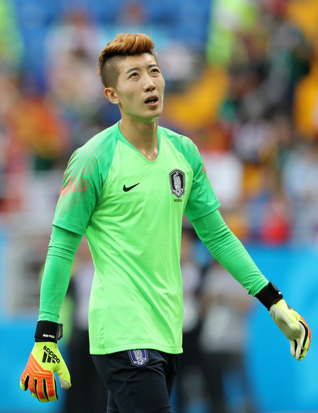 Korea Republic vs. Mexico: Group F - 2018 FIFA World Cup Russia [player,soccer player,football player,sports equipment,team sport,sports,tournament,ball game,championship,football,cho hyun-woo,mexico: group f - 2018 fifa world cup,korea republic,russia,rostov-on-don,mexico,rostov arena,group,match,2018 fifa world cup]