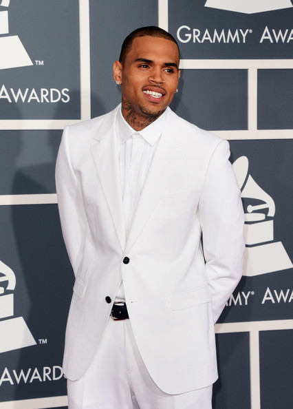 The 55th Annual GRAMMY Awards - Arrivals [suit,white,formal wear,tuxedo,fashion,outerwear,fashion design,carpet,blazer,white-collar worker,arrivals,chris brown,staples center,los angeles,california,55th annual grammy awards]