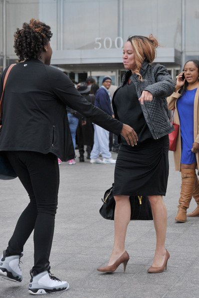 Joyce Hawkins leaves the H. Carl Moultrie 1 Courthouse after her son Chris Brown's assault trial has been posponed until June 25th due to his bodyguard Christopher Hollosy being found guilty on April 23, 2014 in Washington, DC.