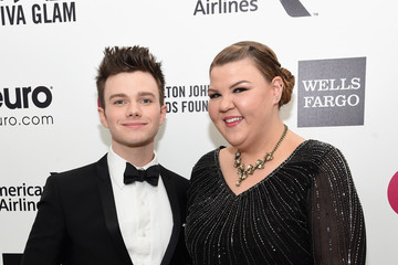 Chris Colfer Ashley Fink Arrivals at the Elton John AIDS Foundation Oscars Viewing Party — Part 3