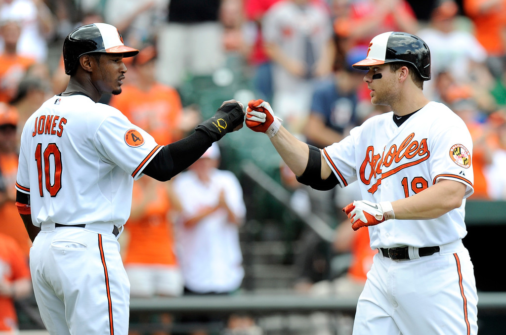 Chris Davis #19 of the Baltimore Orioles celebrates with Adam Jones #10 after hitting a home run in the third inning against the Toronto Blue Jays at Oriole Park at Camden Yards on July 14, 2013 in Baltimore, Maryland.