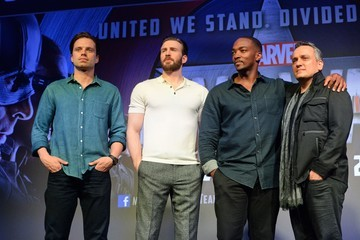 Chris Evans Anthony Mackie Photo Call for Captain America in Singapore