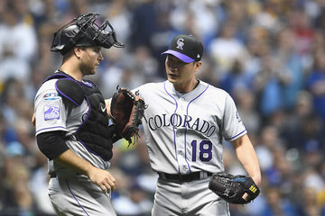 Chris Iannetta Divisional Round - Colorado Rockies vs. Milwaukee Brewers - Game Two
