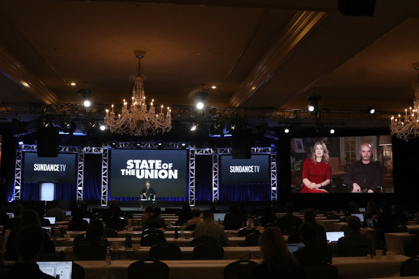 2019 AMC TCA Panels And Green Room [the state of the union,display device,technology,stage,projection screen,electronic device,event,convention,led display,night,building,rosamund pike,chris odowd,nick hornby,panels,satellite,l-r,green room,amc,tca]