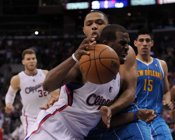 New Orleans Hornets v Los Angeles Clippers [photograph,basketball,sports,basketball player,team sport,basketball moves,ball game,player,basketball court,tournament,chris paul 3,user,note,basket,los angeles,los angeles clippers,new orleans hornets,clipper,win]