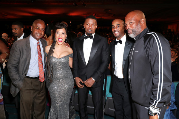 BET Presents The 51st NAACP Image Awards - Show [event,fashion,suit,formal wear,premiere,party,ceremony,wedding reception,fashion design,guest,guest,chris spencer,jamie foxx,robin thede,bet presents the 51st naacp image awards,l-r,pasadena civic auditorium,california,show,public relations,ceremony,tuxedo m.,socialite,tuxedo,celebrity,party,carpet,public]