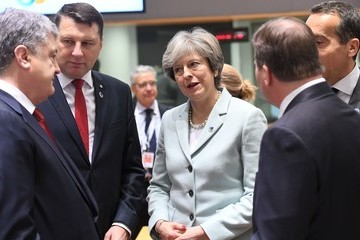Christian Kern British Premier Theresa May Attends the EU Summit in Bruxelles