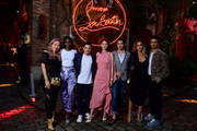 (L-R) Tigarah, Karidja Toure, Samy Seghir, Josephine Japy, Julien Landais, Joanne Palmaro and Shain Boumedine attend the Loubicircus Party by Christian Louboutin at Musee des Arts Forains as part of Paris Fashion Week on June 19, 2019 in Paris, France.