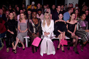 Angela Sarafyan, Alicia Silverstone, Leslie Jones, Heidi Klum, Rachel Bilson, Alexa Chung, and Indya Moore sit front row at the Christian Siriano Fall Winter 2020 NYFW at Spring Studios on February 06, 2020 in New York City.