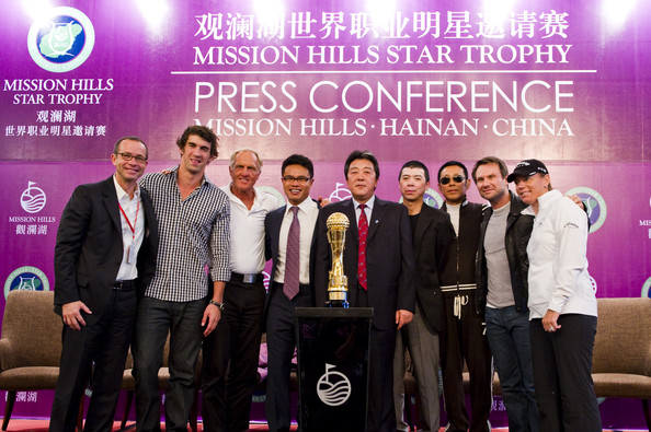 Christian Slater (L-R) President of Creative Artist Agency Richard Lovett, multiple Olympic gold medalist Michael Phelps of USA, golf legend Greg Norman of Australia, Dr. Ken Chu, Vice Chairman of Mission Hills Group, Zhu Hang Song, leading Chinese film director Feng Xiaogang, famous Chinese actor Chan Dao Ming, Hollywood  actor Christian Slater  and former women's world number one golfer Annika Sorenstam of Sweden pose with the Mission Hills Star Trophy during  the tournament opening press conference on October 27, 2010 in Haikou, China. The Mission Hills Star Trophy is Asia's leading leisure liflestyle event and features Hollywood celebrities and international golf stars.