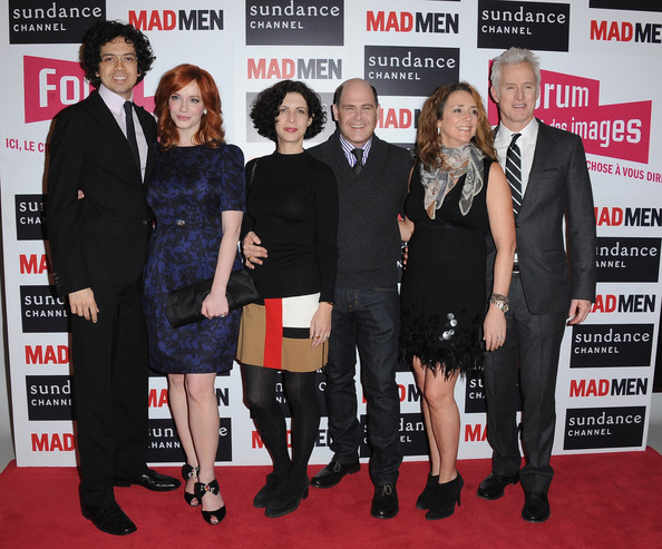 Christina Hendricks (L-R) Geoffrey Arend, Christina Hendricks, Linda Breitler, Matthew Weiner, Talia Balsam and John Slattery attend the 'Mad Men' photocall at Forum Des Images on February 9, 2011 in Paris, France.