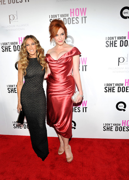 "Christina Hendricks Actresses Sarah Jessica Parker and Christina Hendricks attend the premiere of The Weinstein Company's ""I Don't Know How She Does It Premiere"" sponsored by QVC & Palladium Jewelry at AMC Lincoln Square Theater on September 12, 2011 in New York City."