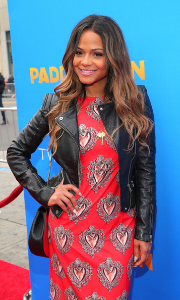 """Premiere Of TWC-Dimension's """"Paddington"""" - Red Carpet [paddington,clothing,leather,jacket,leather jacket,fashion model,hairstyle,outerwear,fashion,textile,long hair,red carpet,christina milian,california,hollywood,tcl chinese theatre imax,twc-dimension,premiere,premiere]"""