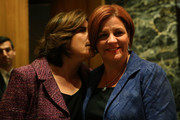 New York City Council Speaker Christine Quinn (R) stands backstage with her wife Kim Catullo moments before conceding defeat in the New York Democratic mayoral primary elections on September 10, 2013 in New York City. Quinn, who lead early in the polls and who was endorsed by all of New York's major newspapers, saw her lead slip away in the final weeks of the campaign. Quinn would have been the first woman and lesbian to hold the job of mayor.