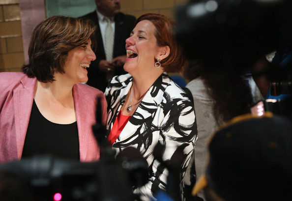 Christine Quinn Votes in NYC Mayoral Primary [singing,event,performance,singer,music artist,music,performing arts,song,fun,musician,christine quinn,kim catullo,mayor,r,vote,votes,nyc,democratic,primary,primary election]