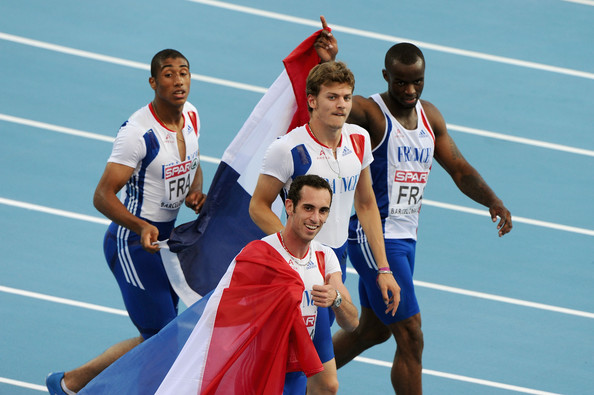 Christophe Lemaitre Jimmy Vicaut, Pierre-Alexis Pessonneaux, Christophe Lemaitre and Martial Mbandjock of France celebrate winning the gold medal in the Mens 4x100m Relay Final during day six of the 20th European Athletics Championships at the Olympic Stadium on August 1, 2010 in Barcelona, Spain.