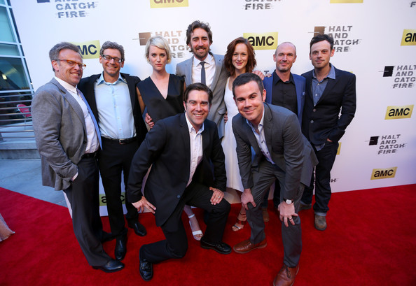 'Halt and Catch Fire' Premieres in Hollywood [halt and catch fire,series,red carpet,carpet,event,premiere,flooring,white-collar worker,suit,tourism,mark johnson,jonathan lisco,actors,show creators,l-r top,los angeles,amc,red carpet]
