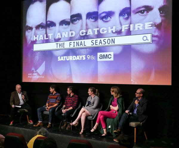 'Halt and Catch Fire' Screening [halt and catch fire,event,convention,stage,media,talent show,performance,display device,competition,brand,company,matt zoller seitz,mackenzie davis,melissa bernstein,christopher rogers,christopher cantwell,toby huss,screening,l-r,ifc center]