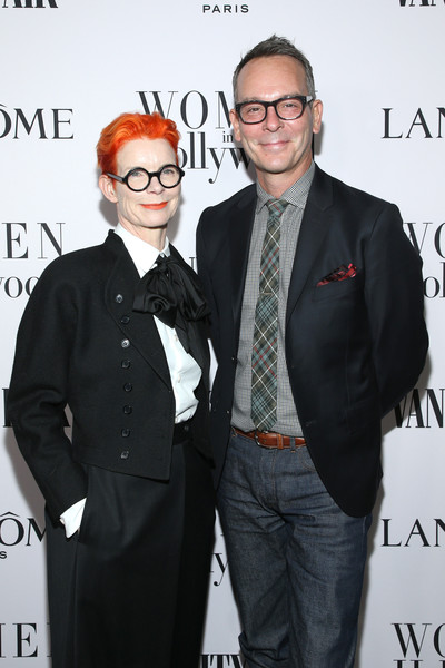 Vanity Fair And Lancôme Toast Women In Hollywood In Los Angeles [eyewear,fashion,event,glasses,vision care,photography,premiere,fashion design,suit,christopher peterson,sandy powell,toast women in hollywood,lanc\u00e3,l-r,los angeles,lanc\u00f4me toast women in hollywood,california,vanity fair,celebrity,fashion,fashion design,tuxedo,socialite,tuxedo m.,lanc\u00f4me,design,glasses]