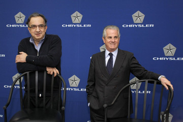 Claudio Scajola Chrysler CEO Marchionne Speaks To The Media At Company's Headquarters