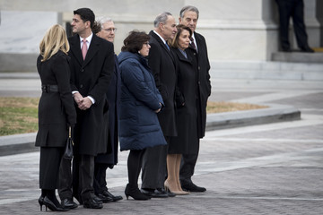Chuck Schumer President George H.W. Bush Lies In State At US Capitol