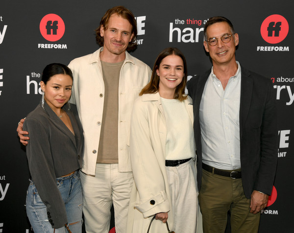 """Premiere Of Freeform's """"The Thing About Harry"""" - Red Carpet [the thing about harry,premiere,event,suit,film industry,carpet,maia mitchell,tom ascheim,cierra ramirez,josh pence,l-r,freeform,red carpet,premiere,premiere,maia mitchell,cierra ramirez,josh pence,celebrity,the thing about harry,stock photography,getty images,photograph]"""