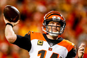 Andy Dalton #14 of the Cincinnati Bengals throws a pass during the second quarter of the game against the Kansas City Chiefs at Arrowhead Stadium on October 21, 2018 in Kansas City, Kansas.