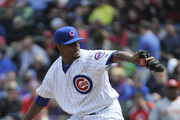 Edwin Jackson #36 of the Chicago Cubs pitches against the Cincinnati Reds during the first inning on April 19, 2014 at Wrigley Field in Chicago, Illinois.