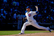 Jon Lester #34 of the Chicago Cubs pitches against the Cincinatti Reds during the second inning at Wrigley Field on September 30, 2017 in Chicago, Illinois.