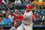 Joey Votto #19 of the Cincinnati Reds singles to left field in the first inning during the game against the Pittsburgh Pirates at PNC Park on September 5, 2018 in Pittsburgh, Pennsylvania.