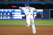 Troy Tulowitzki #2 of the Toronto Blue Jays celebrates as he circles the bases on his grand slam home run in the third inning during MLB game action against the Cincinnati Reds at Rogers Centre on May 29, 2017 in Toronto, Canada.