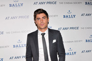"Actor Zac Efron attends the Cinema Society & Bally screening of Sony Pictures Classics' ""At Any Price"" at Landmark Sunshine Cinema on April 18, 2013 in New York City."