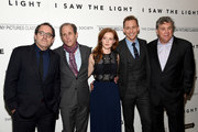 """(L-R) Sony Pictures Classics co-founder Michael Barker, director Marc Abraham, actress Wrenn Schmidt, actor Tom Hiddleston and Sony Pictures Classics co-founder Tom Bernard attend The Cinema Society With Hestia & St-Germain Host a Screening of Sony Pictures Classics' """"I Saw the Light"""" at Metrograph on March 24, 2016 in New York City."""